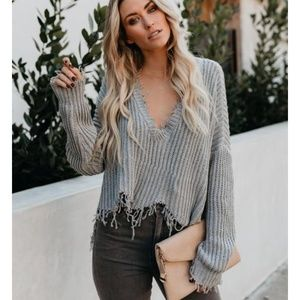 MARY Distressed V Neck Sweater